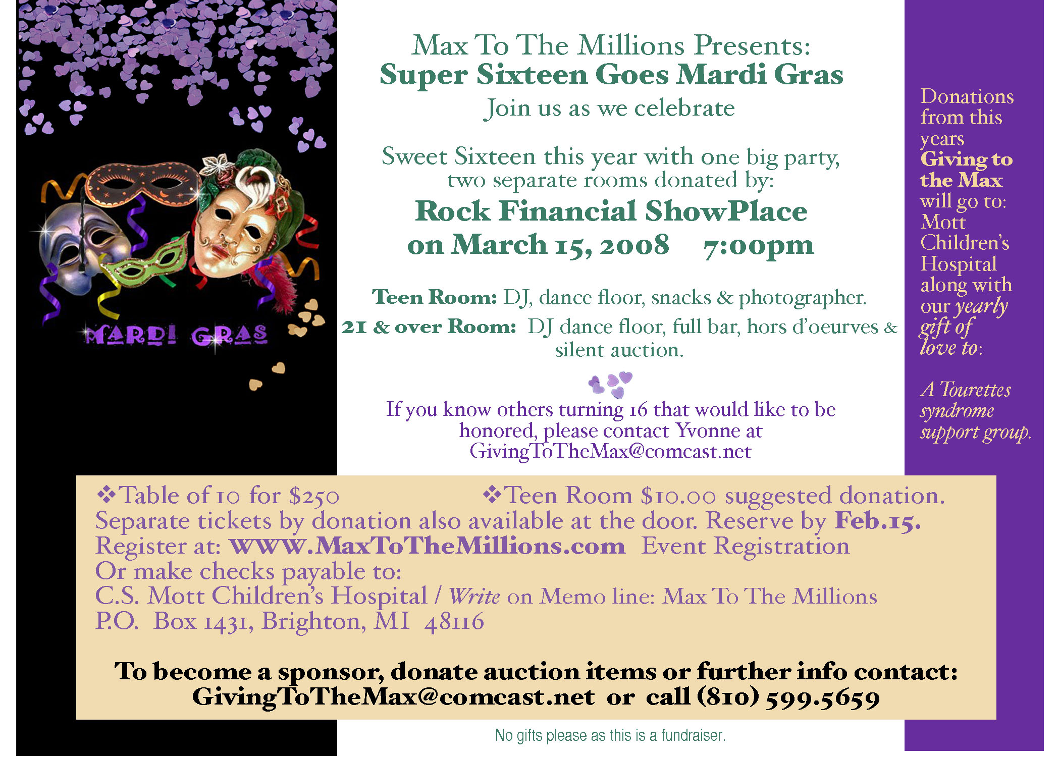 Max's Benefit - Sweet 16 Boy Invitation